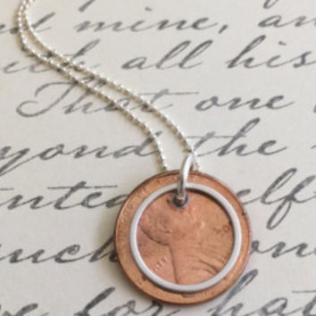 Penny Necklace, Karma Necklace, Charm Necklace, Coin Necklace, Silver Necklace