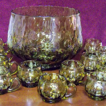 Vintage Olive Green Punch Bowl Set Italy