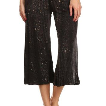 Tie Dye Print Cropped Length Relaxed Fit Wide Leg Pants with High Elastic Waist