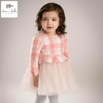 DB5197 davebella spring baby girl princess dress baby pink plaid dress kids birthday clothes dress girls lace dress