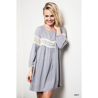 Peak Of Lace Baby Doll Dress, Grey