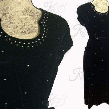 Vintage 50s Dress, Vintage 1950s Dress, 50s Cocktail Dress, 50s Little Black Dress, 50s Large Dress, Vintage Dress, 50s Wiggle Dress