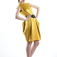 Cotton-viscose blend mustard yellow dress
