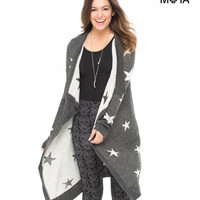 Aeropostale Womens Star Cascade Cardigan - Black,