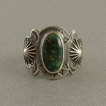 OLD PAWN Vintage Navajo Fred Harvey Era RING Native American Green Turquoise Sterling Silver Stampwork, Mens Size 10 c.1930s, Gift for Him