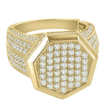 Sterling Silver Men's Round Solitaire Hexagon Cluster 14k Gold Finish Ring