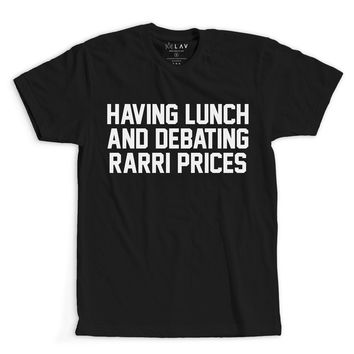 HAVING LUNCH AND DEBATING FERRARI PRICES | TEXT SHIRT