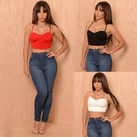 New Women Sexy Spaghetti Strap V-Neck Solid Bandage Backless Cami Crop Top