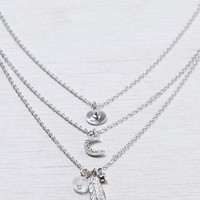 AEO Women's Tiered Feather & Leaf Necklace (Silver)