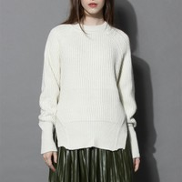 Stay Warm and Chic Ribbed Sweater in Cream