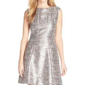 Women's Tahari Metallic Jacquard Fit & Flare Dress,