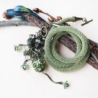Bead crochet necklace, rope - Khaki Green Unique