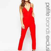 True Decadence Petite Strappy Plunge Front Jumpsuit