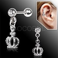 316L Surgical Steel King Crown with Gem Dangle Cartilage Earrings
