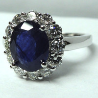 4.18ct Oval Sapphire Diamond Engagement Ring 18kt JEWELFORME BLUE