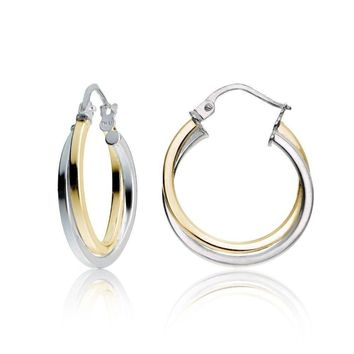 Gold Flash Silver 2-Tone Intertwining Square Tube Polished Hoop Earrings, 20mm