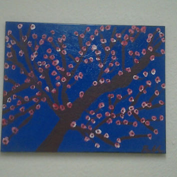 "Orginal Abstract Art Oil/Acrylic Painting Handmade Signed on Wrapped Canvas w/Wood Framing16 x 20"" Cherry Blossom Tree"