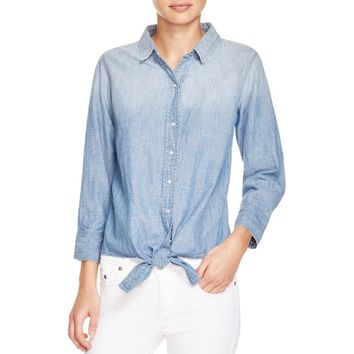 Current/Elliott Womens Chambray Faded Western Top
