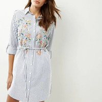 White Striped Embroidered Shirt Dress With Belt