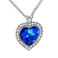 Smaller Blue Titanic Heart Pendant Necklace