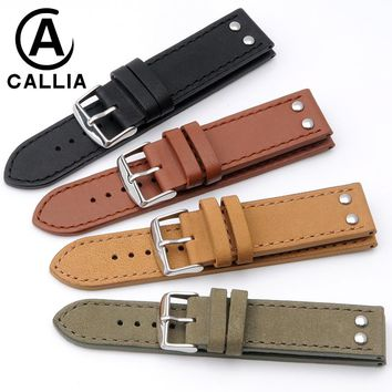 High Quality Genuine Calf Hide Leather For men's Watchbands For Hamilton Iwc Watch Strap 20mm 22mm Stainless Steel Silver clasp