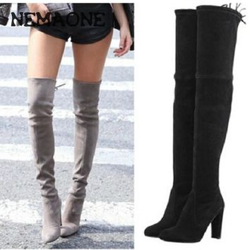 Women Stretch Faux Suede Thigh High Boots Sexy Fashion Over the Knee Boots High Heels Woman Shoes Black Gray Winered