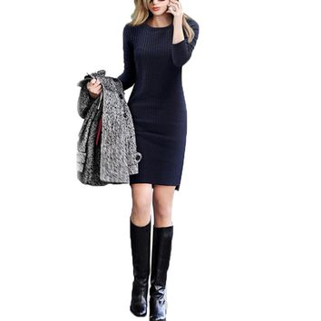 Winter Autumn Women Mini Dresses O-neck Asymmetric Hem Bodycon Sweater Dress Elastic Causal Slim Sweater Fashion Sexy Vestidos