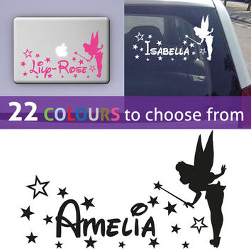 Personalised custom girls name TINKERBELL disney magic FAIRY wall sticker decal art for nursery, laptop, car, mirror, window, bedroom