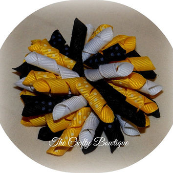 Bumble Bee Korker Hair Bow or Set, Polka Dot Korker Bows, Summer Hair Bows, Matching Girls Bows, Big Curly Bows, Black & Yellow Bows