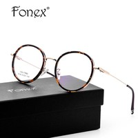 FONEX TR90 and Metal New Men Vintage Round Glasses Frame Women Retro Prescription Myopia Spectacles Computer Optical Frames 9151