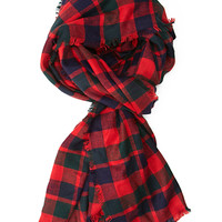 FOREVER 21 Frayed Plaid Scarf Red/Green One
