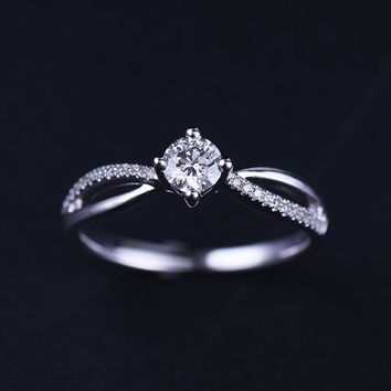 18K Gold Diamond Ring for Women K Gold Natural Diamond Jewelry Wedding and Engagement Jewellery for Lady Gift for Girl Proposal