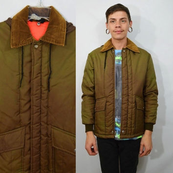 Vintage Mens JacketSmall Soft Grunge Green Brown 80s 70s Outdoor Sports Lightweight Jacket Hooded Corduroy Collar Fall Winter