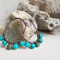 Genuine blue turquoise stirrups, wire wrapped hammered hoop earrings, oxidized brass, primitive artisan jewelry, organic style beach wear
