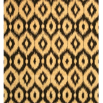 Hand-tufted Wool Black Contemporary Abstract Gold Ikat Rug