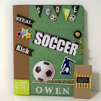 Custom Soccer Notebook Personalized - Super Heros - Green and Brown