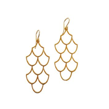 Keani Jewelry Unveiled Mermaid Scale Earrings 14K Heavy Gold Plated or Sterling Silver