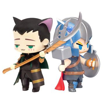 Avengers Thor Mini Action Figures 1/10 scale painted figure Mini Cat Cute Loki PVC figure Toy Brinquedos Anime 8CM
