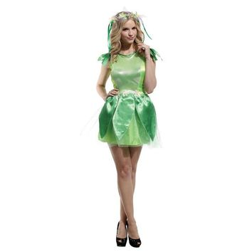 Halloween Cosplay Costumes Role Play Dress Green Elf Disfraces Genie Fairy Flower Costumes