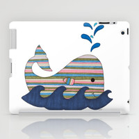 Striped Whale iPad Case by Erin Brie Art