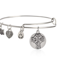 Alex and Ani style cross pendant charm bracelet,a perfect gift !