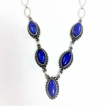 "18"" Sterling Silver Lapis Faceted Stone Necklace Vintage"