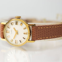 Gold plated women's watch Ray round wrist watch classic accessory lady watch premium leather lizard ornament strap new