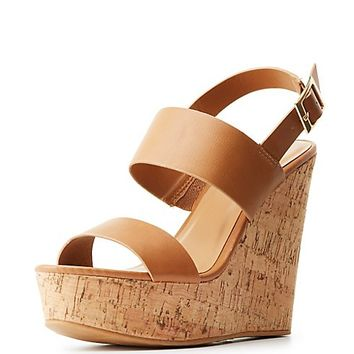 Bamboo Slingback Cork Wedge Sandals