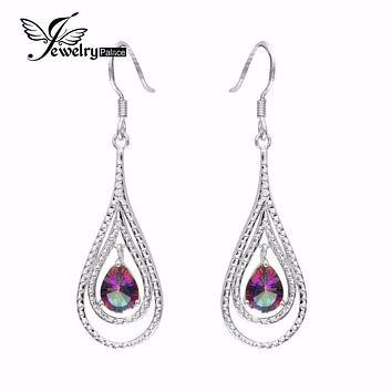 UNIQUE Natural Rainbow Mystic Topaz Earrings Dangle For Women Fashion Pear Genuine 925 Solid Sterling Silver 2016 High Quality