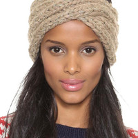 Khaki Metallic Yarn Mixed Cable Knit Turban Headband