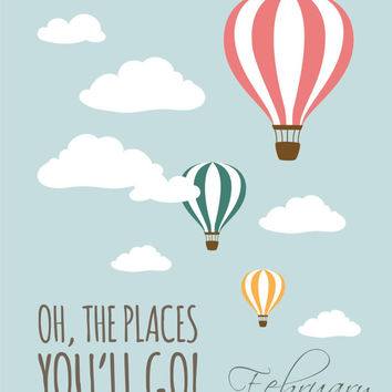 photograph regarding Oh the Places You'll Go Printable referred to as Oh, the Puts Youll Move! -Fastened of 2, 8x10 - Dr. Seuss Incredibly hot Air Balloon Immediate Down load Electronic Printable Nursery Decor Wall Artwork Poster Print