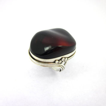 Blood Red Stone, Women's Amber Ring, Red Amber Jewelry, Gothic Vampire Jewelry
