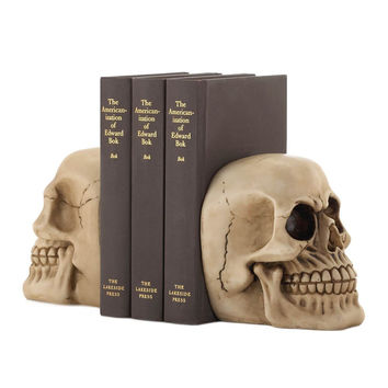 Human Skull Resin Bookends