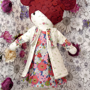 Handmade one of a kind fabric flower power doll